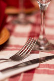 Metal fork setup tavern table Stock Images