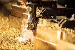 Metal forming by CNC milling machine cutting Royalty Free Stock Photos