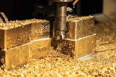 Metal forming by milling machine cutting Stock Photography