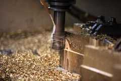 Metal forming by milling machine cutting Royalty Free Stock Images