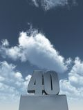 Metal forty. 40 - in front of cloudy blue sky - 3d illustration royalty free illustration