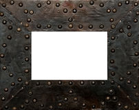 Metal frame. For photos with rivets and worn texture stock image