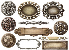 Metal frame. Vintage metal frames, buttons, isolated Royalty Free Stock Photo