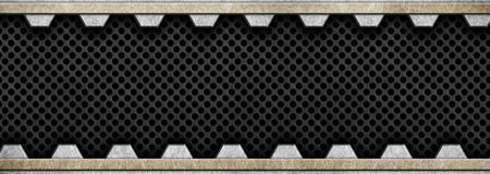 Metal frame with a black perforated mesh, 3d, illustration. Black metal mesh with aluminum plates, background texture, 3d, illustration Stock Image