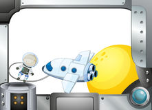 A metal frame border with an airplane and an astronaut royalty free illustration