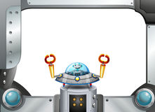 A metal frame border with a robot inside a saucer. Illustration of a metal frame border with a robot inside a saucer Royalty Free Stock Photography