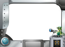 A metal frame border with a robot and a telescope Stock Image