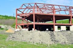 Metal frame building under construction Stock Images