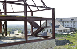 Metal frame building under construction Stock Photos