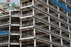 Metal frame building under construction. Multistorey metal frame of building under construction Stock Image