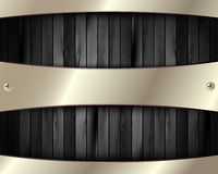 The metal frame on a dark wooden background 11. The metal frame on a dark wooden background for your design Stock Photo