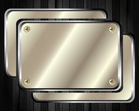 The metal frame on a dark wooden background Royalty Free Stock Photos
