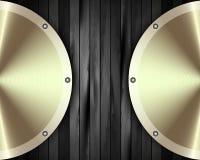 The metal frame on a dark wooden background 15. The metal frame on a dark wooden background for your design vector illustration