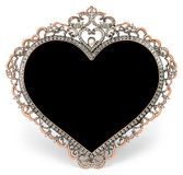 Metal frame with diamonds in form of heart and Stock Photo