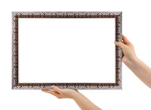 Metal frame in hands Stock Image