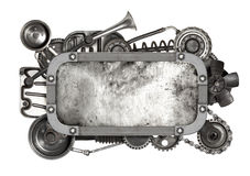 Metal frame and old auto spare parts car isolated Stock Photos