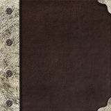Metal frame for photo on leather background Royalty Free Stock Images