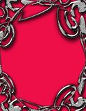 Metal Frame on Red. Metal looking frame on red background. Computer generated royalty free illustration