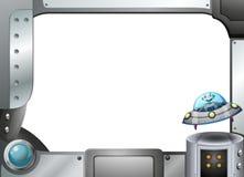 A metal frame with a robot inside a saucer. Illustration of a metal frame with a robot inside a saucer vector illustration