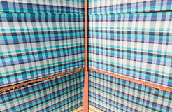 Metal frame roof with blue plaid fabric Royalty Free Stock Photo