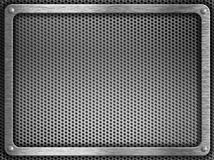 Metal frame with screws over grate background Royalty Free Stock Photography
