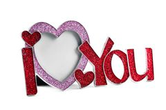Metal frame shaped I LOVE YOU Stock Image