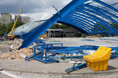 Metal Frame Structure on Deconstruction Site Royalty Free Stock Photo