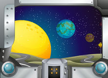 A metal frame with a view of the outerspace. Illustration of a metal frame with a view of the outerspace stock illustration