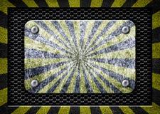 Metal frame with warning stripe, danger zone iron background Stock Image
