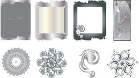 Metal frames and elements. The metal texture and decoration items Royalty Free Illustration