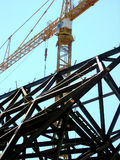 Metal frames installation. Royalty Free Stock Images