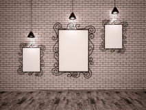 Metal frames and lights Stock Photo