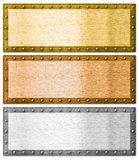 Metal frames silver, gold and bronze with clipping path Stock Photography
