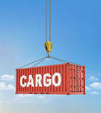 Metal freight shipping containers on the hooks at sky background.  royalty free stock photos