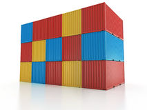 Metal freight shipping containers wall on white background Stock Photo
