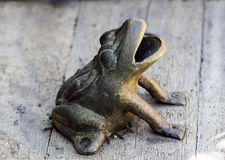 Metal Frog Garden Ornament On Wooden Bench Royalty Free Stock Photos