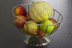 Metal fruit basket Royalty Free Stock Images