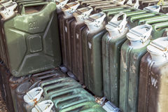Metal fuel tank or jerry can for transporting and storing gasoli. Ne or diesel fuel store,  can use motor oil or fuel concept background Stock Photography