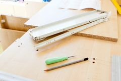 Furniture fittings and tools for assembling furniture Royalty Free Stock Photos