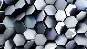 Metal futuristic hexagons background. 3d render illustration Royalty Free Stock Photos