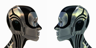 Metal futuristic robotic heads Royalty Free Stock Photo