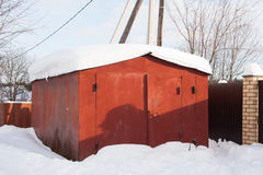 Metal garage in the snow Stock Photography
