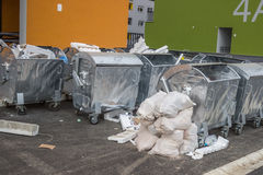 Metal garbage trash containers Stock Photo
