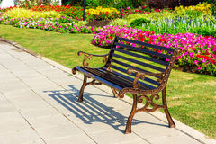 Metal garden chair on garden Royalty Free Stock Photos