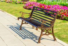 Metal garden chair on garden Royalty Free Stock Photo