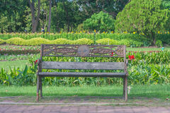 Metal garden chair in public park, Royalty Free Stock Image