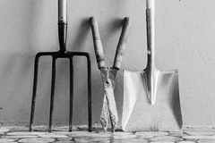 Metal Garden Digging Fork, Garden Shears, Metal Spade stock photos