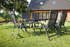 Metal Garden furniture Stock Images
