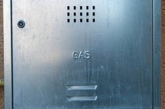 Metal gas box on residentual building. Close up shot on early morning royalty free stock photography