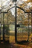 Metal gate. Autumn image of old metal gate Royalty Free Stock Image